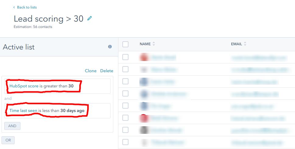 Lead Score 30 Beispiel in HubSpot