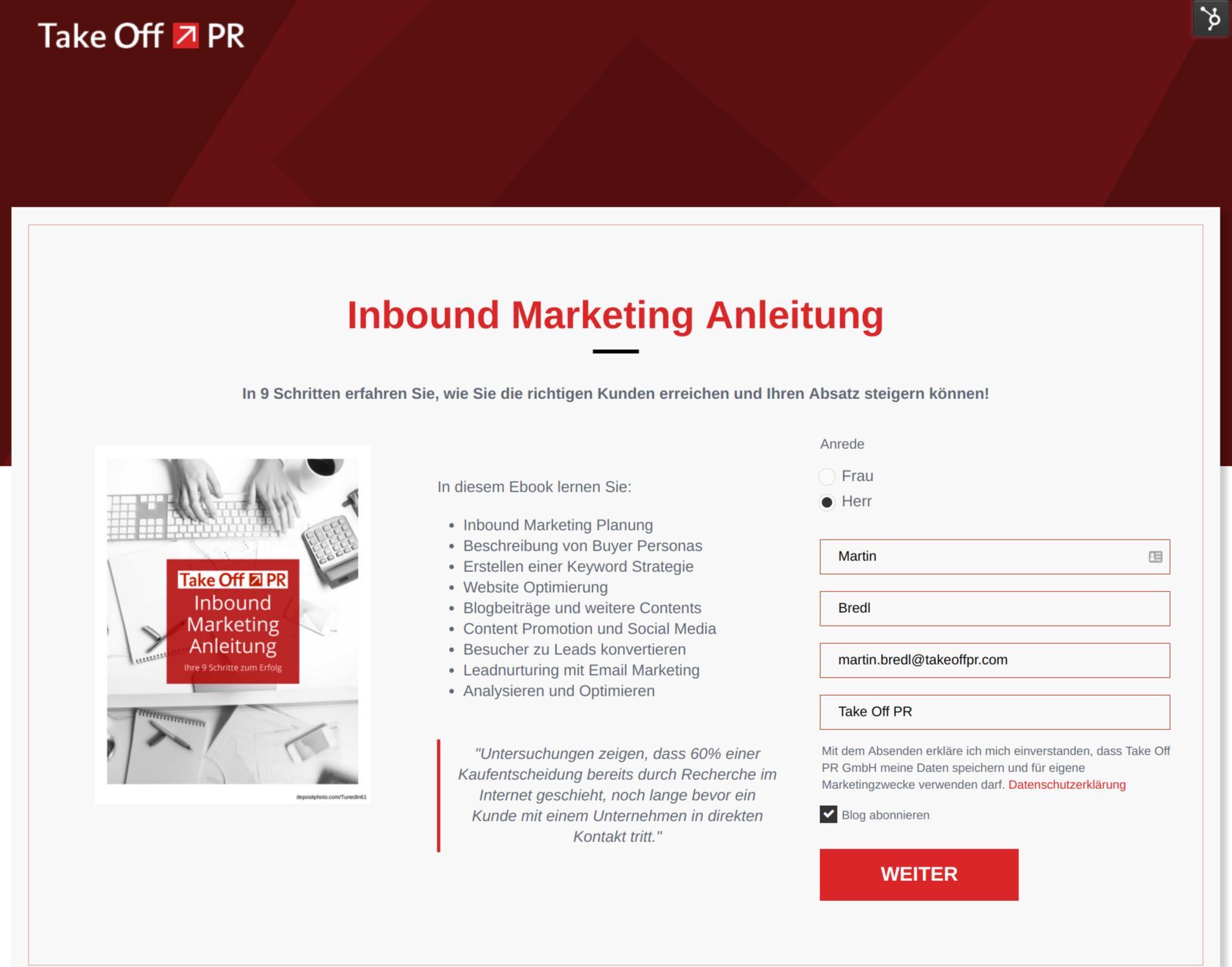Landing Page Take Off PR&