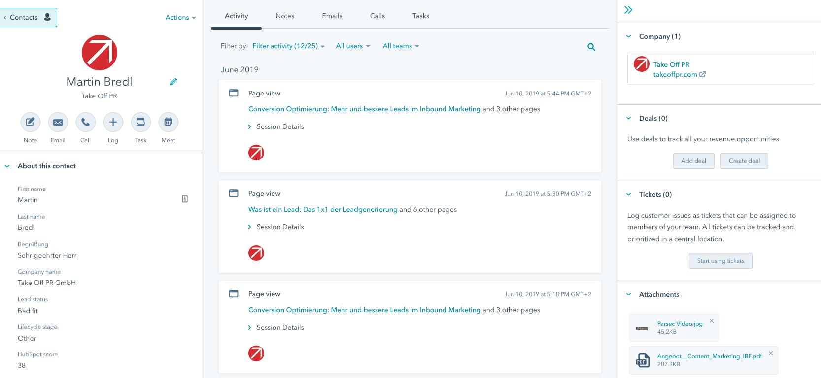 CRM Timeline HubSpot