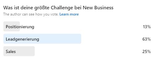 Umfrage_Was ist deine größte Challenge bei New Business