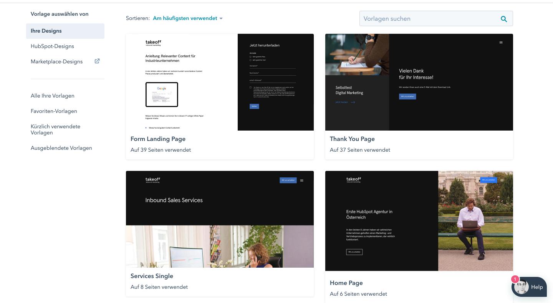 take off HubSpot website templates