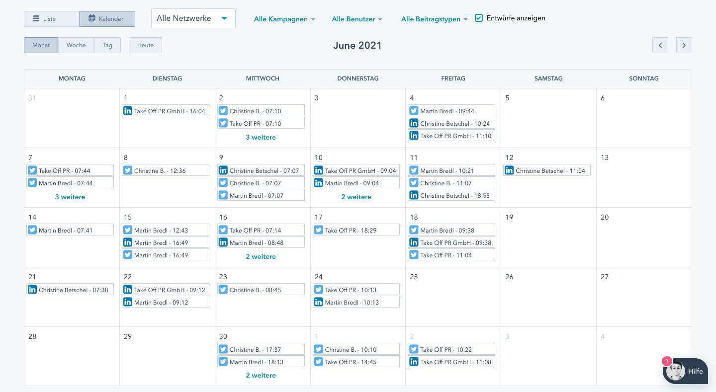 takeoff hubspot social media kalender